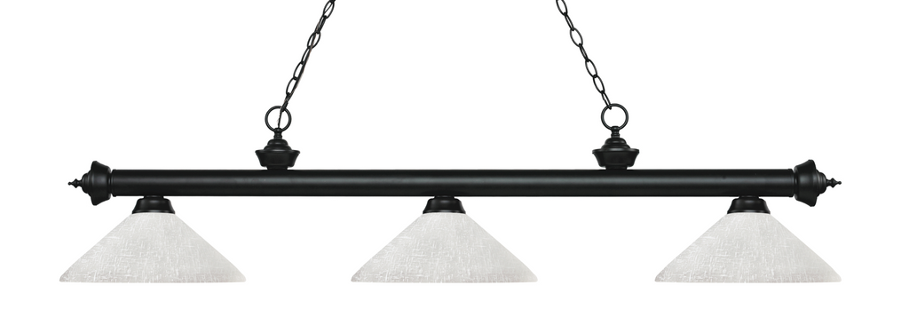 Riviera Pool Table Light Black/Angle White Linen Shade - Gameroom Goodies Pool Table Lights