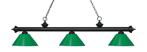 Riviera Pool Table Light Matte Black/Solid Green Shade - Gameroom Goodies Pool Table Lights