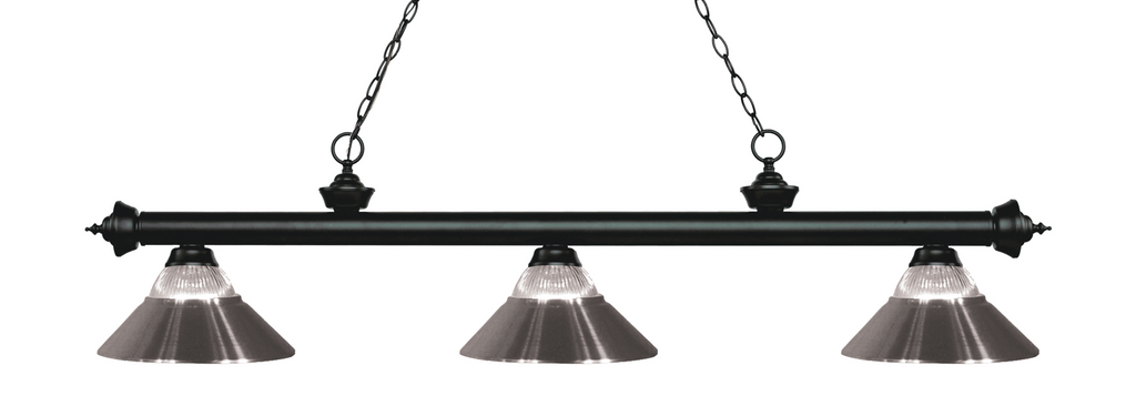 Riviera Pool Table Light Black/Glass and Brushed Nickel Shade - Gameroom Goodies Pool Table Lights