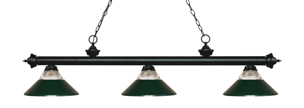 Riviera  Pool Table Light Black/Glass and Dark Green Shade - Gameroom Goodies Pool Table Lights