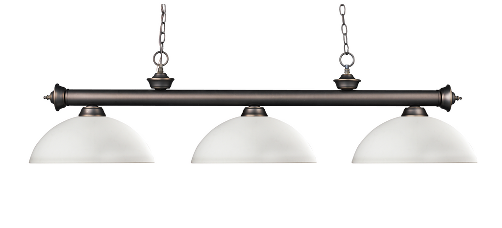 Riviera Pool Table Light Olde Bronze/Matte Opal Shade - Gameroom Goodies Pool Table Lights