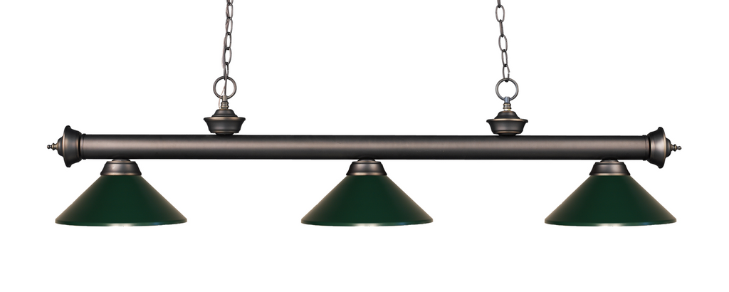 Riviera Pool Table Light Olde Bronze/Dark Green Shade - Gameroom Goodies Pool Table Lights
