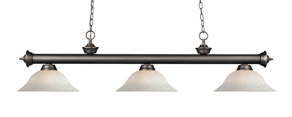 Riviera Pool Table Light Olde Bronze/White Mottle Shade - Gameroom Goodies Pool Table Lights