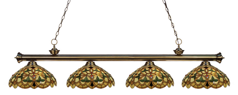 Riviera Antique Brass Tiffany 4 Shade Pool Table Light 200-4AB-C14 - Gameroom Goodies Pool Table Lights