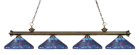 Riviera Antique Brass Tiffany 4 Shade Pool Table Light 200-4AB-D16-1 - Gameroom Goodies Pool Table Lights