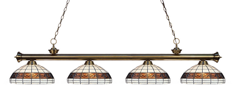 Riviera Antique Brass Multi Colored Tiffany Pool Table Light 200-4AB-F14-1 - Gameroom Goodies Pool Table Lights