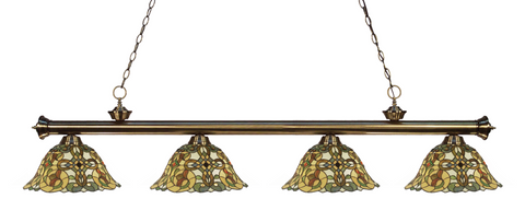 Riviera Antique Brass Multi Colored Tiffany Pool Table Light 200-4AB-R14A - Gameroom Goodies Pool Table Lights