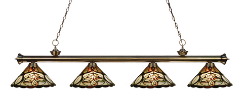 Riviera Antique Brass Tiffany 4 Shade Pool Table Light 200-4AB-Z14-10 - Gameroom Goodies Pool Table Lights