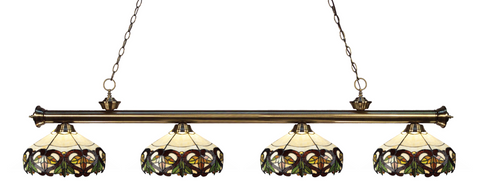 Riviera Antique Brass Tiffany 4 Shade Pool Table Light 200-4AB-Z14-33 - Gameroom Goodies Pool Table Lights