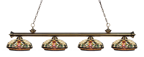 Riviera Antique Brass Tiffany 4 Shade Pool Table Light 200-4AB-Z14-34 - Gameroom Goodies Pool Table Lights