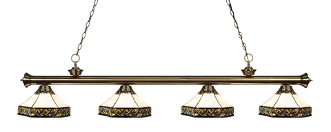 Riviera Antique Brass Tiffany 4 Shade Pool Table Light 200-4AB-Z16-30 - Gameroom Goodies Pool Table Lights