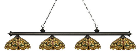 Riviera Golden Bronze Tiffany 4 Shade Pool Table Light 200-4GB-C14 - Gameroom Goodies Pool Table Lights