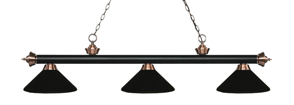 Rivera Pool Table Light Matte Black & Antique Copper/Matte Black Shade - Gameroom Goodies Pool Table Lights
