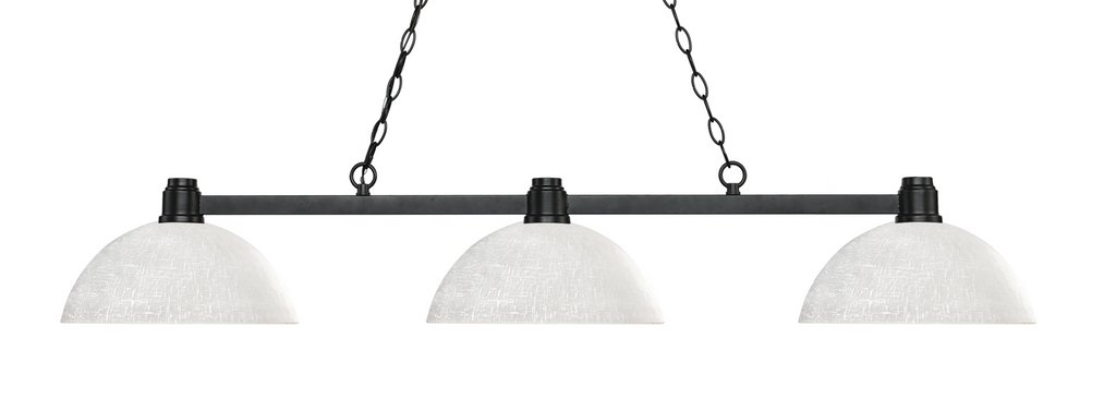Park Pool Table Light Bronze/Dome White Linen  Shade - Gameroom Goodies Pool Table Lights