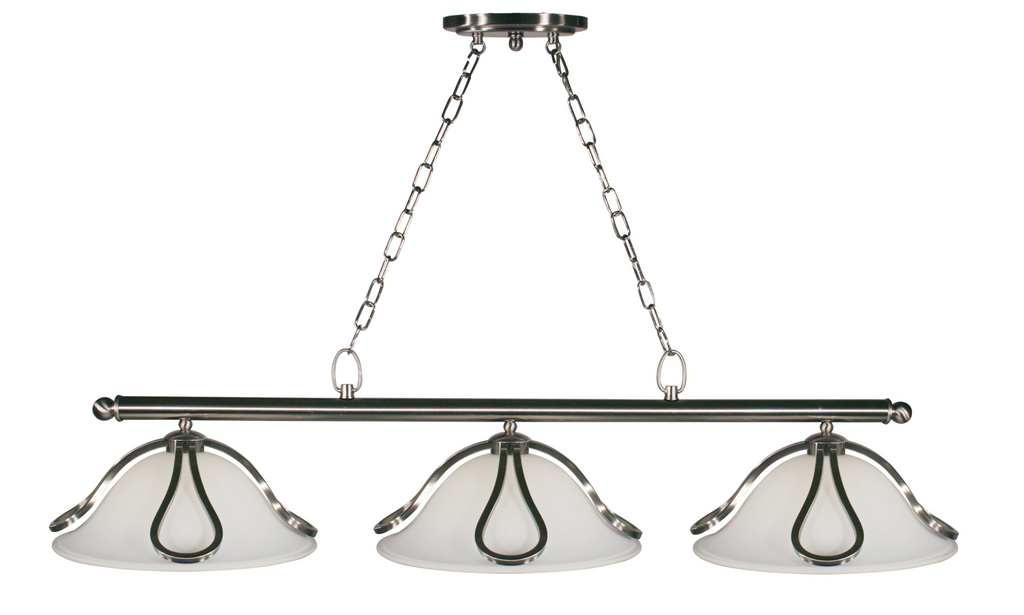 Carlisle Brushed Nickel Matte Opal Pool Table Light - Gameroom Goodies Pool Table Lights