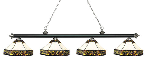 Riviera Black & Brushed Nickel Tiffany 4 Shade Pool Table Light 200-4MB+BN-Z16-30 - Gameroom Goodies Pool Table Lights