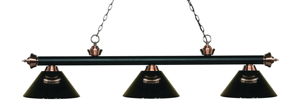 Rivera Pool Table Light Matte Black & Antique Copper/Smoke Shade - Gameroom Goodies Pool Table Lights
