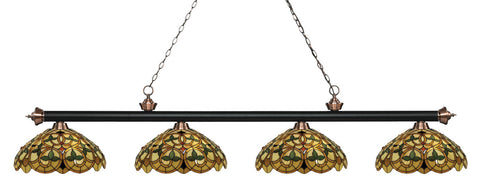 Riviera Tiffany 4 Shade Pool Table Light Matte Black & Antique Copper 200-4MB+AC-C14 - Gameroom Goodies Pool Table Lights