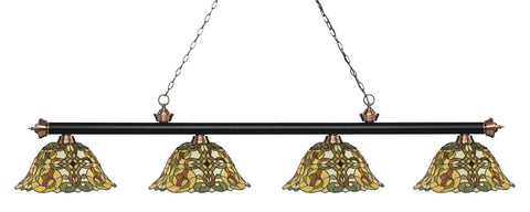 Riviera Tiffany 4 Shade Pool Table Light Matte Black & Antique Copper 200-4MB+AC-R14A - Gameroom Goodies Pool Table Lights