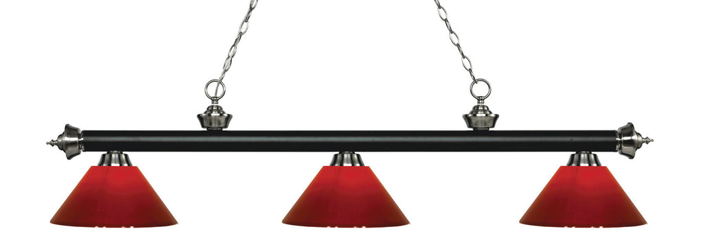 Rivera Pool Table Light Matte Black & Brushed Nickel/Red Shade - -Bar Style-Z-Lite