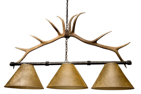Rustic Antler Pool Table Light - --Frontier Iron Works - 1