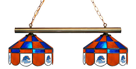 Boise State Broncos Stained Glass 2-Light Executive Game Table Light - Gameroom Goodies Pool Table Lights