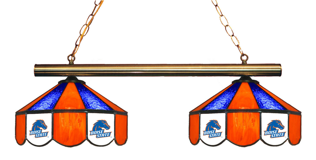 Boise State Broncos Stained Glass 2-Light Game Table Light - Gameroom Goodies Pool Table Lights
