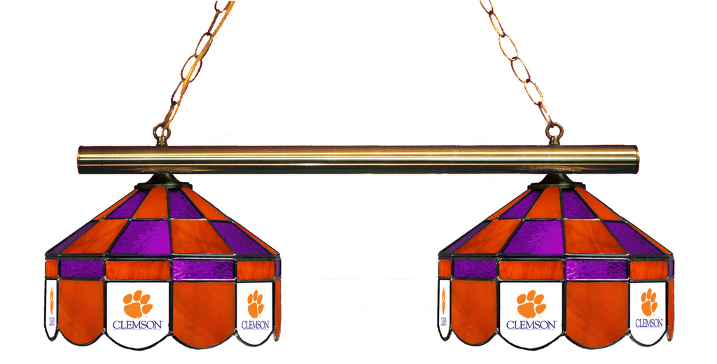 South Carolina Clemson Tigers Stained Glass 2-Light Executive Game Table Light - -South Carolina Clemson Tigers-Wave 7