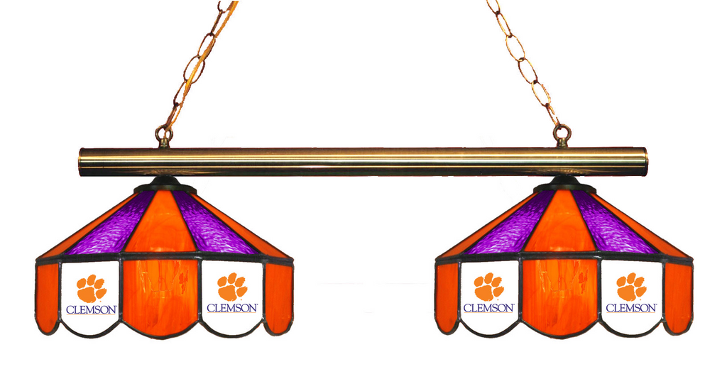 South Carolina Clemson Tigers Stained Glass 2-Light Game Table Light - Gameroom Goodies Pool Table Lights