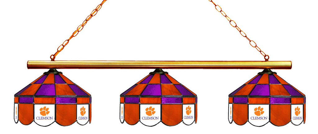 South Carolina Clemson Tigers Stained Glass 3-Light Executive Game Table Light - Gameroom Goodies Pool Table Lights