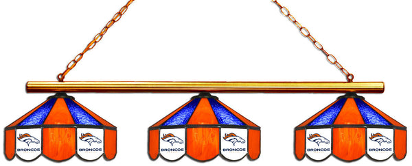Denver Broncos NFL Stained Glass 3 Shade Pool Table Light - Gameroom Goodies Pool Table Lights