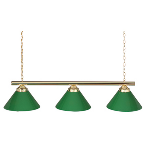 Economy 3-Lamp Billiard Light with Green Shades - Gameroom Goodies Pool Table Lights