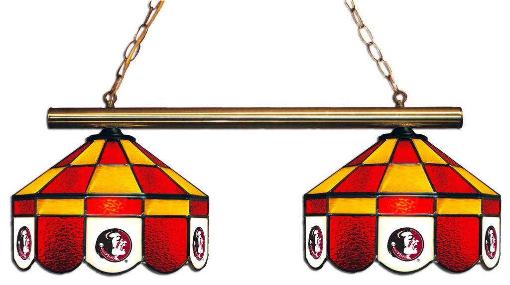 Florida State Seminoles Stained Glass 2-Light Executive Game Table Light - Gameroom Goodies Pool Table Lights
