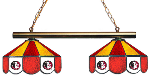 Florida State Seminoles Stained Glass 2-Light Game Table Light - Gameroom Goodies Pool Table Lights