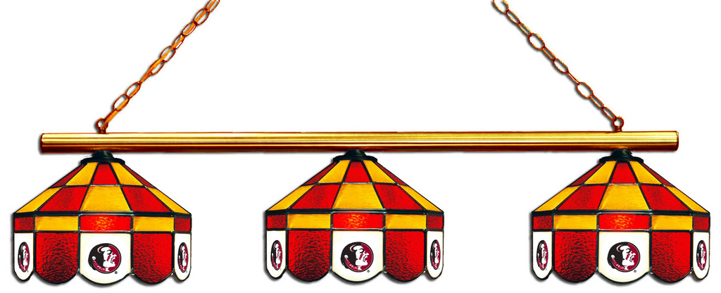 Florida State Seminoles Stained Glass 3-Light Executive Game Table Light - Gameroom Goodies Pool Table Lights