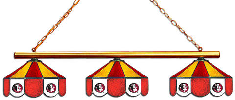 Florida State Seminoles Stained Glass 3-Light Game Table Light - Gameroom Goodies Pool Table Lights