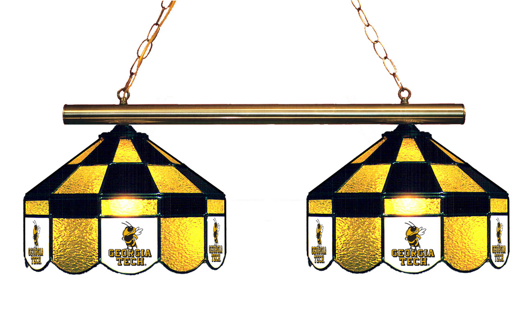Georgia Tech Stained Glass 2-Light Executive Game Table Light - Gameroom Goodies Pool Table Lights