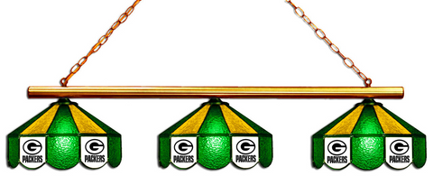 Green Bay Packers NFL Stained Glass 3 Shade Pool Table Light - Gameroom Goodies Pool Table Lights