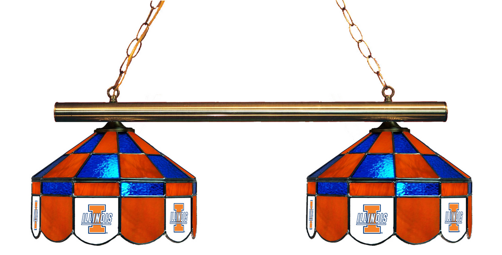 Illinois Fighting Illini Stained Glass 2-Light Executive Game Table Light - Gameroom Goodies Pool Table Lights