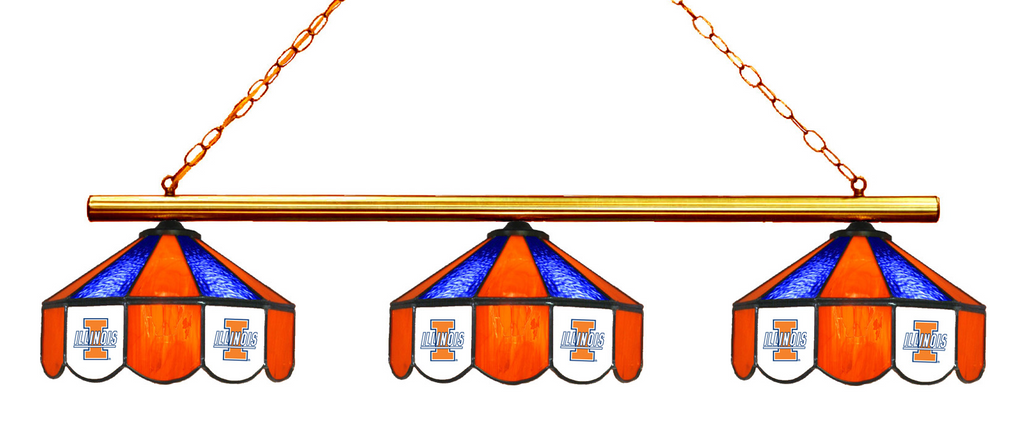 Illinois Fighting Illini Stained Glass 3-Light Game Table Light - Gameroom Goodies Pool Table Lights