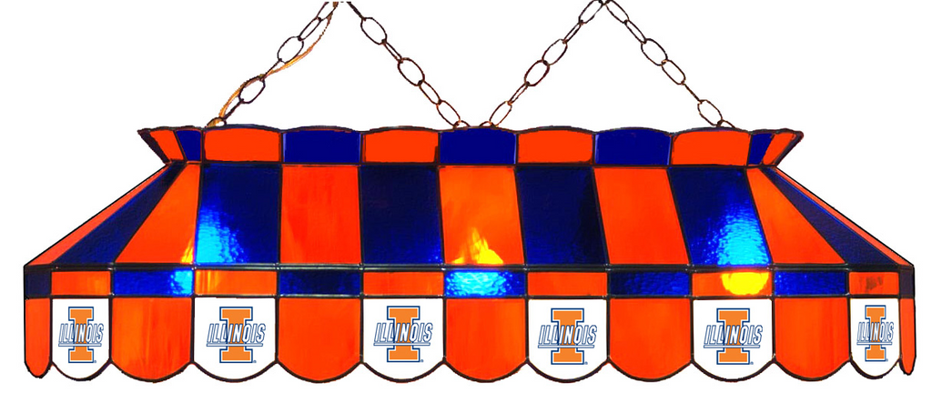 Illinois Fighting Illini Stained Glass Pool Table Light - Gameroom Goodies Pool Table Lights