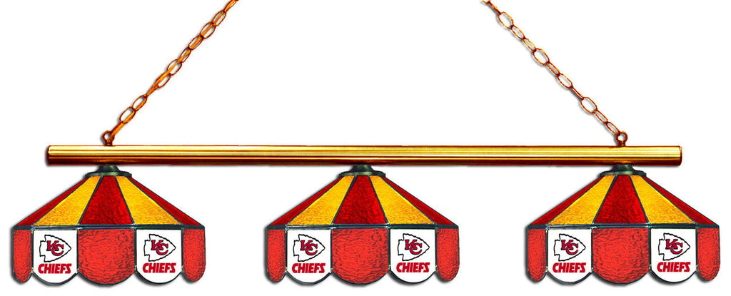 Kansas City Chiefs NFL Stained Glass 3 Shade Pool Table Light - Gameroom Goodies Pool Table Lights