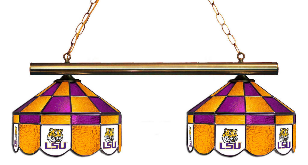 LSU Tigers Stained Glass 2-Light Executive Game Table Light - Gameroom Goodies Pool Table Lights