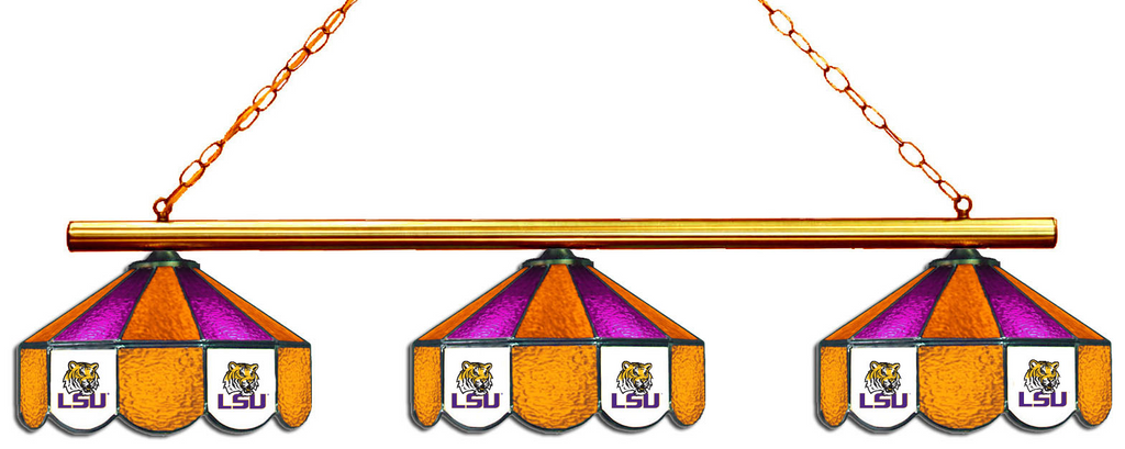 LSU Tigers Stained Glass 3-Light Game Table Light - Gameroom Goodies Pool Table Lights