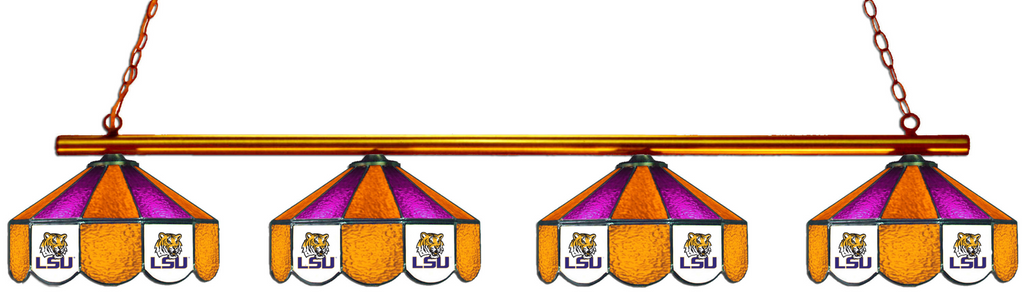 LSU Tigers Stained Glass 4-Light Pool Table Light - Gameroom Goodies Pool Table Lights