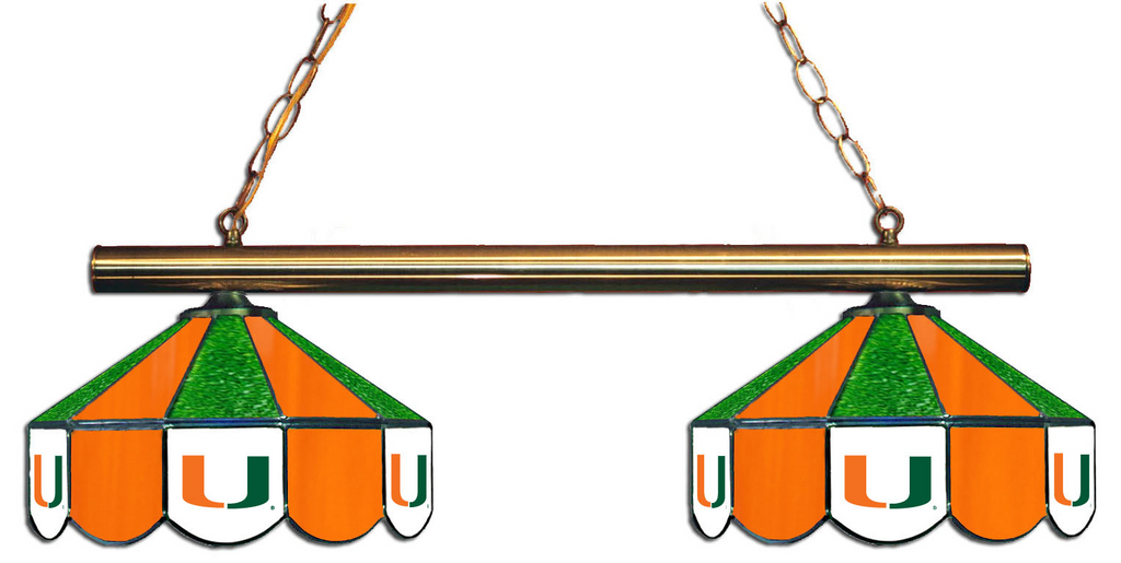 Miami Hurricanes Stained Glass 2-Light Game Table Light - Gameroom Goodies Pool Table Lights