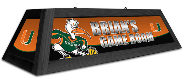 Miami Hurricanes Custom Pool Table Light - Gameroom Goodies Pool Table Lights