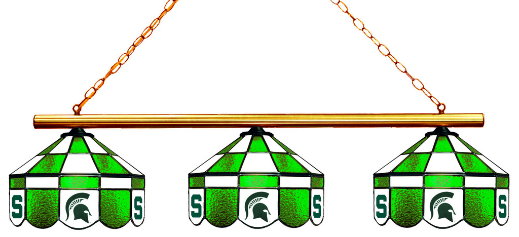 Michigan State Spartans Stained Glass 3-Light Executive Game Table Light - Gameroom Goodies Pool Table Lights