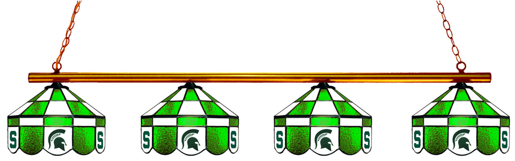 Michigan State Spartans Stained Glass 4-Light Executive Pool Table Light - Gameroom Goodies Pool Table Lights