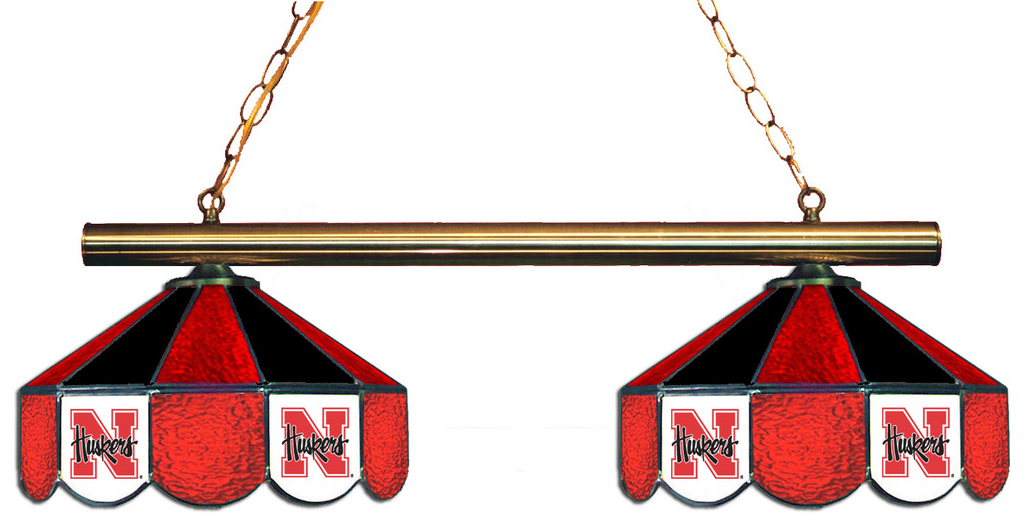 Nebraska Cornhuskers Stained Glass 2-Light Game Table Light - Gameroom Goodies Pool Table Lights